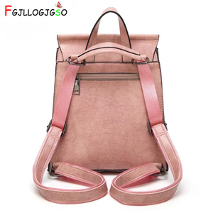 Image 2 - FGJLLOGJGSO brand 2019 New women PU leather school bags for teenage girls casual backpack Wax oil skin Lady Travel Shoulder Bag