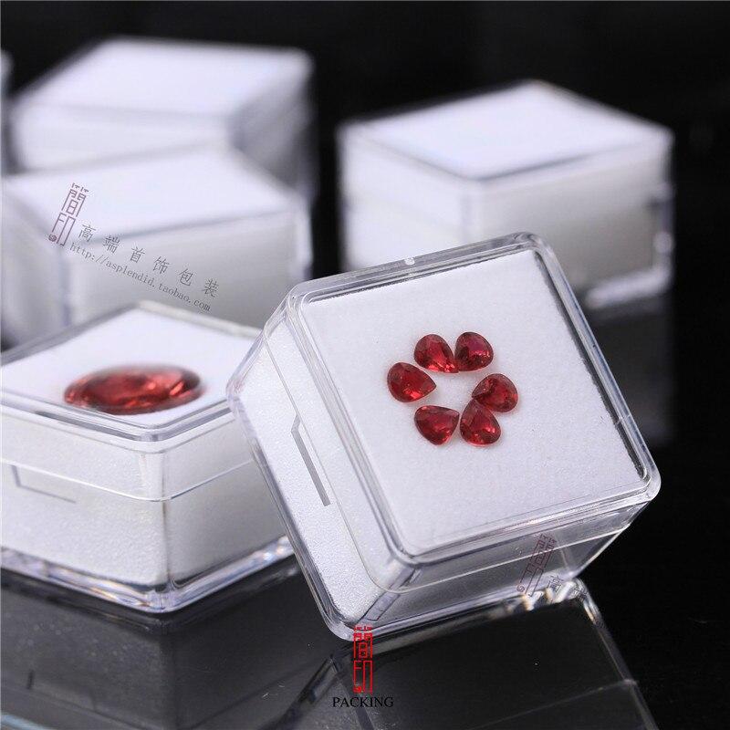 24pcs/lot 3.8cm X 3.8cm Diamond Display Box Plastic Diamond Case Stone Storage Box Gem Packaging Box Black & White