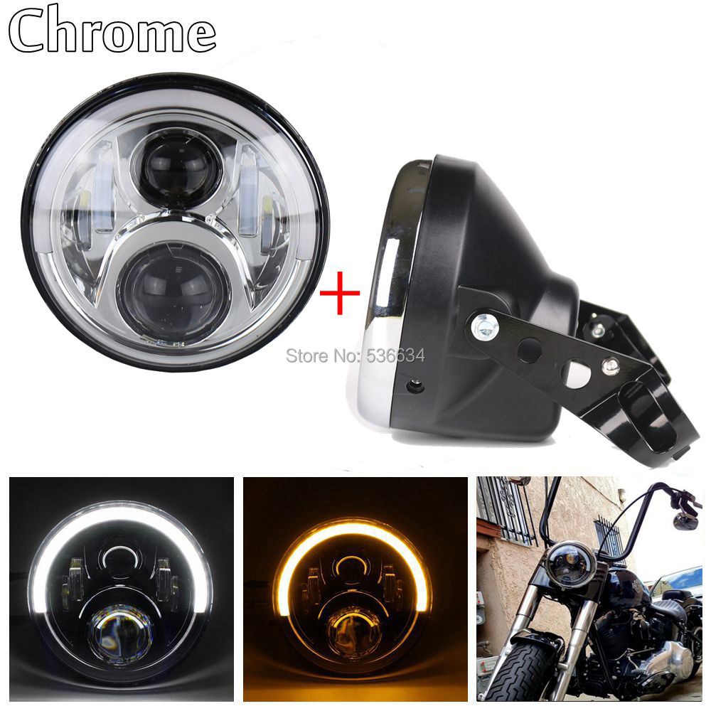 Chrome 7inch led headlight Daymaker Projector with Halo Ring Color White-Amber and Lamp Shall for Harley Road King
