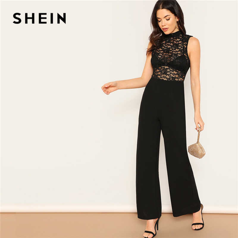 7c20e9441be3 SHEIN Sexy Black Lace Hollow out Backless Mock-neck Wide Leg Jumpsuit Women  Summer Sleeveless