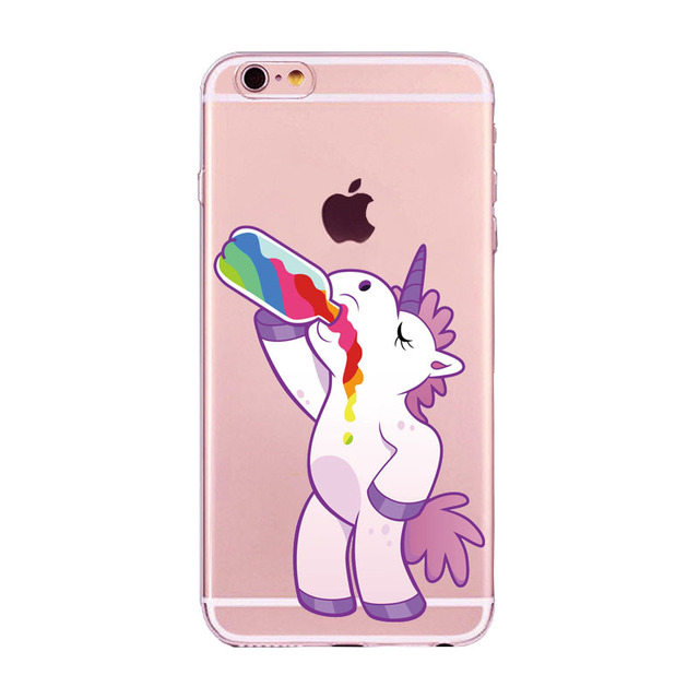 New Cute Unicorn Rainbow Case For iPhone 5 5s SE 6 6s 7 7Plus 6Plus Puke Unicorns Horse soft TPU Gel Fundas Cover Coque Capa