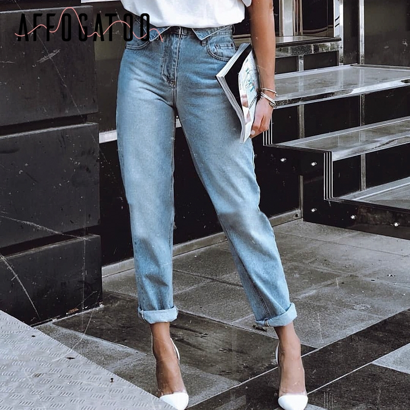 Affogatoo Light Blue Pocket Women Jean Female Casual Fold-over High Waist Denim Pant Streetwear Skinny Ladies Jean Trousers 2018