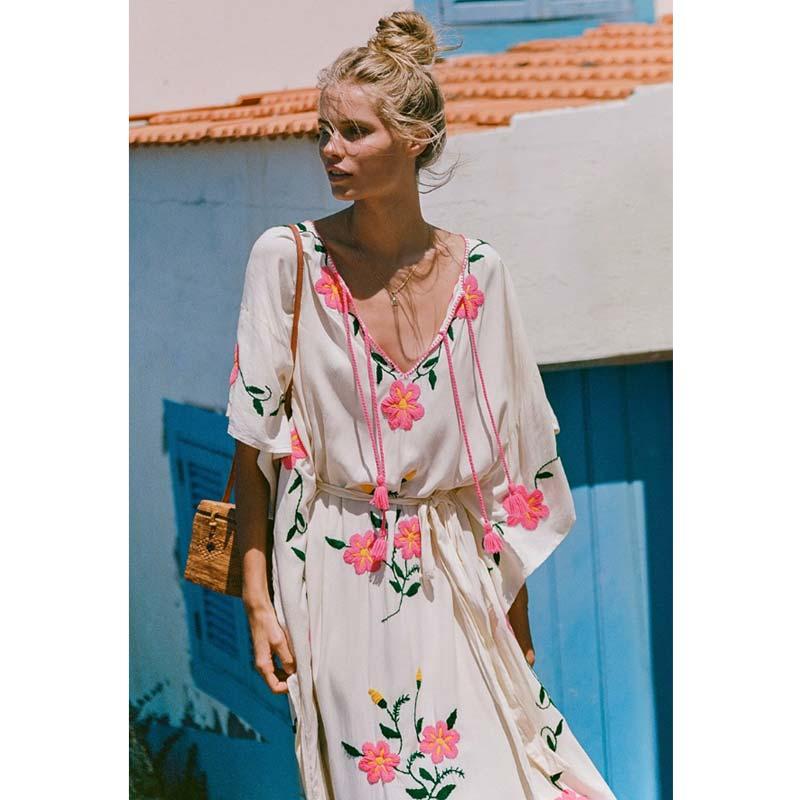 Robe Ceintures Kimono Florale Bohofree As Chic Vacances Longue Plage Boho Femme Broderie Lâche À La Mujer Robes Pic Tunique w1qX1Bf