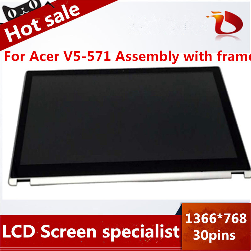 Free shipping 15.6 lcd touch screen For Acer Aspire V5-531 V5-531P V5-571 V5-571P V5-571PG MS2361 lcd assembly new lcd display matrix 7 inch irbis tx77 3g tablet inner lcd screen panel lens frame module replacement free shipping