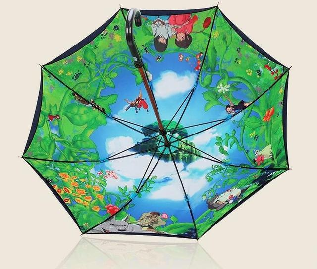 Totoro Inside Colorful Pattern Straight Umbrellas