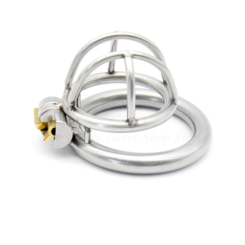 New Super Small 304 Stainless Steel Male Chastity Device Cock Cage Penis Virginity Lock Cock Ring Adult Game Chastity Belt