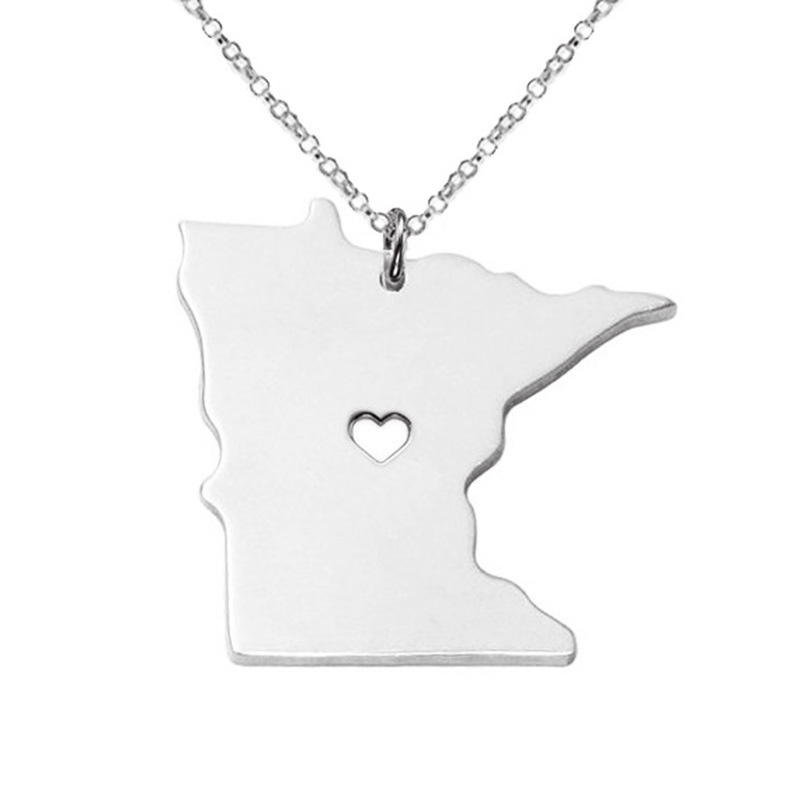 3 Color Newly Minnesota State Necklace American 316L Stainless Steel Heart map Pendant Necklace 5PCS