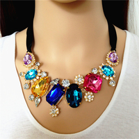 China Supplier Design Big Colorful Crystal Diamante Stone Collar Lady Rhinestone Transfer Bead Necklace