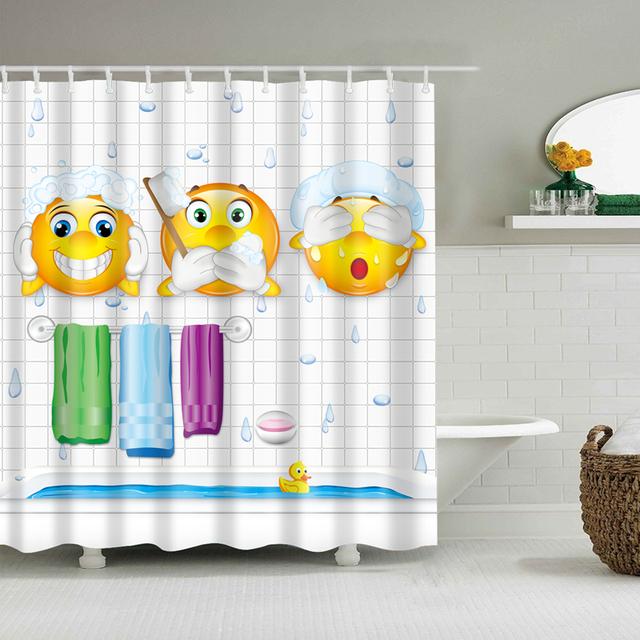 Cortina de baño de alta calidad de respeto con el medio ambiente de tela de poliéster impermeable Cortina para ducha de dibujos animados diferentes vistas globo Piano de sirena