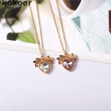 Fashion jewelry The golden bow Crystal Glass Heart Necklacedroplets pendant necklace double jewelry wholesale necklace for women