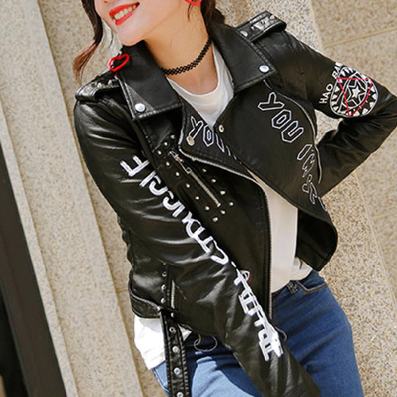 Байкерская куртка женская, черная, из искусственной кожи, с заклепками, поясом и надписью, в стиле панк, на молнии, для зимы и осени|Кожаные куртки|   | АлиЭкспресс
