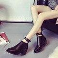 Señaló Botas de Cremallera de Las Mujeres Dobles Cinturones Nueva Primavera Otoño Bloque Talón Tobillo Botas Damas Botas Botines Zapatos Hebilla Correa Ocasional