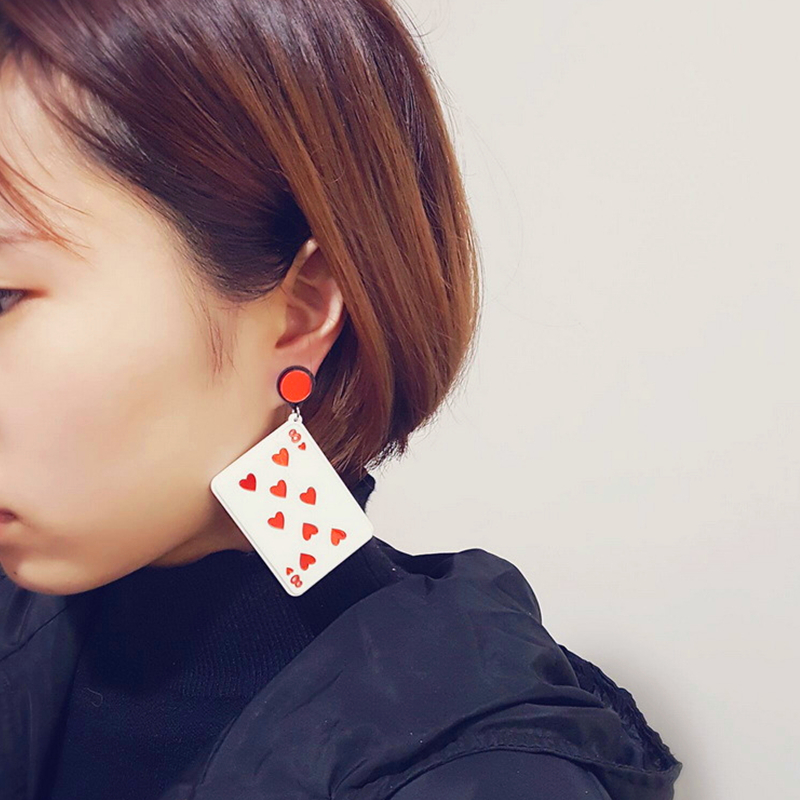 Doreen Box 3D Playing Cards Red Heart Eight New Fashion Women Stud Earrings Creative Girls Trend Earrings Jewelry, 1 Pair