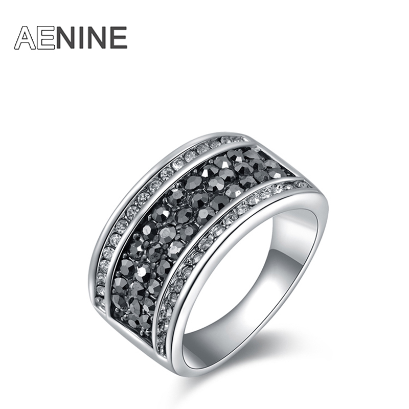 AENINE Fashion Rhinestone Rings Jewelry Pave Setting 5 Rows Gray Austrian Crystal Ring For Women Drop Shipping Anel R150160283P
