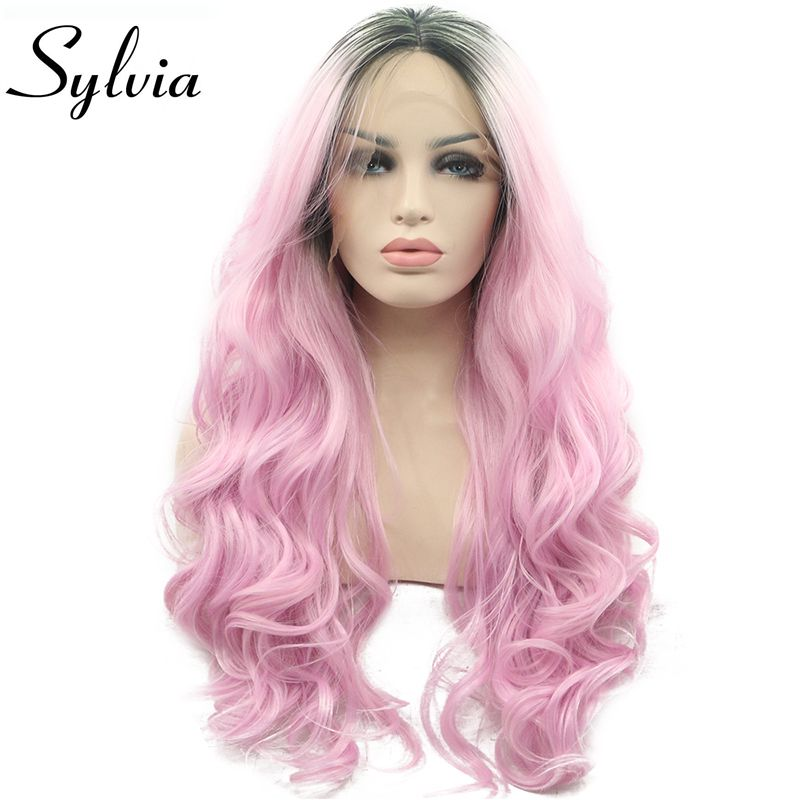 Sylvia Ombre Pink Wig With Dark Roots Synthetic Lace Front Wigs Heat Resistant Fiber Body Wave