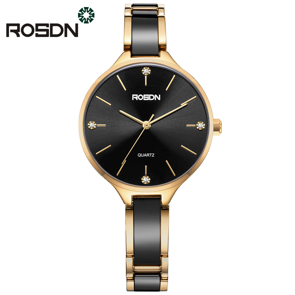 ROSDN Luxury Fashion Women's Watches Gift Set Quartz Watch Bracelet Wrist Watch for Women Ceramics Stainless Steel Band Gold reigning champ куртка