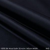 SILK WOOL SATIN 140cm Width 35mm 35 Silk 65 Men Suits Material Silk Fabric Top High