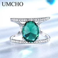 UMCHO Green Emerald Gemstone Rings For Women Solid 925 Sterling Silver Ring Silver Wedding Engagement Band Fine Jewelry Gift