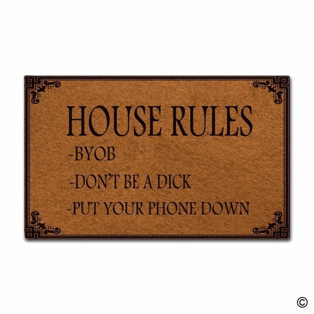 US $23 99 |Funny Printed Doormat Entrance Mat Non slip Doormat House Rules  Indoor Outdoor Decoration Door Mat 18x30 Inch-in Mat from Home & Garden on