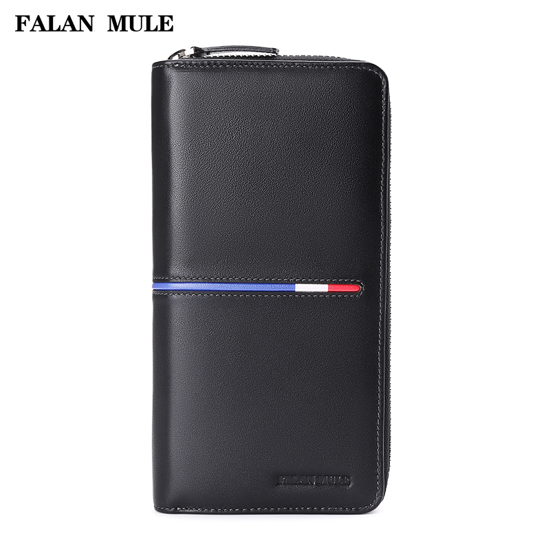 Fashion Male Clutch Genuine Leather Men Wallet FALAN MULE 2017 New Brand Luxury Purse Men Wallets For Phone Card Holder 2017 luxury brand men genuine leather wallet top leather men wallets clutch plaid leather purse carteira masculina phone bag
