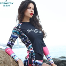 SABOLAY Ms Black geometric pattern Beach clothes Snorkeling water service Surfing suits Sun protection swimsuit Jelly clothing