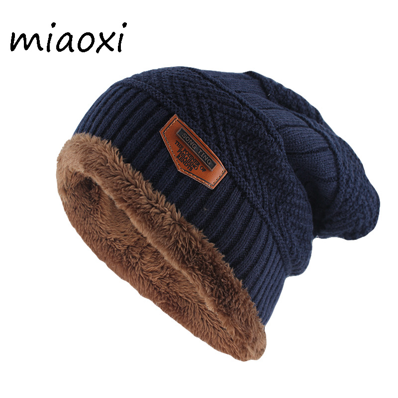 miaoxi New Winter Warm   Beanies     Skullies   Fashion Adult Men Letter Wool Hat Cotton Top Women Knitted Bone Soft Male Gorros