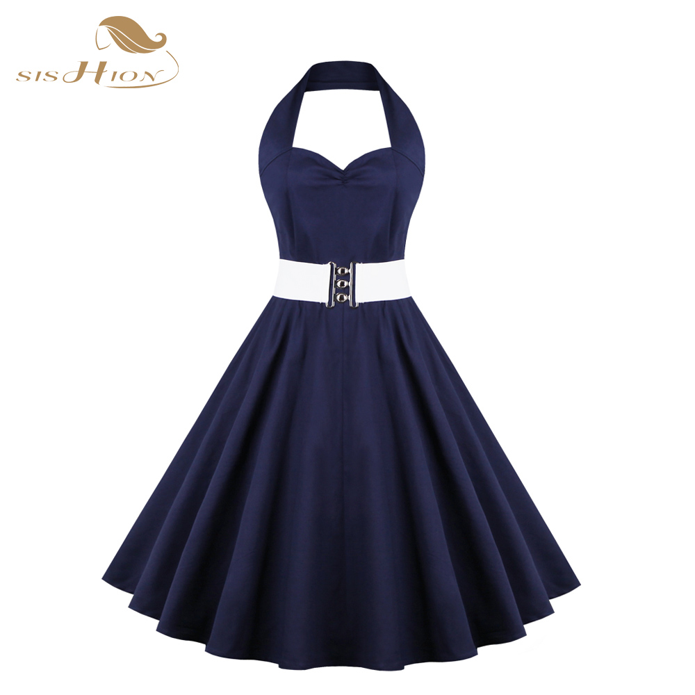 sishion frauen elegant hepburn 50 s vintage retro rockabilly kleid plus  größe sexy neckholder belted swing party kleid blau vd0363