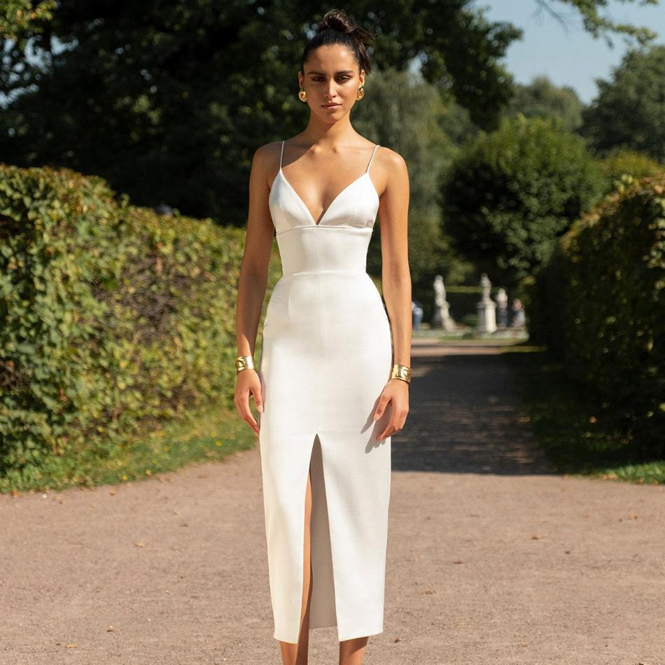 Date D'été Party Celebrity Moulante Bandage Robe Blanc De Courroie De Gaine Col V Femmes Sexy de Split Discothèque Robe Femmes Robes