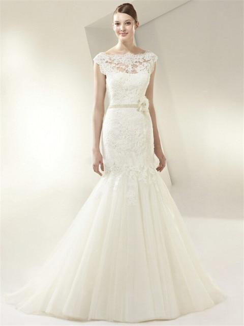 Tulle & Lace Backless Wedding Dress 2015 Elegant Vintage High Neck ...