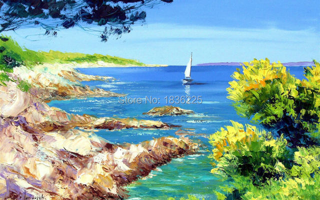 Handmade Spring Landscape Oil Painting Small Fishing Boats Beach Seascape On Canvas For Home Decor