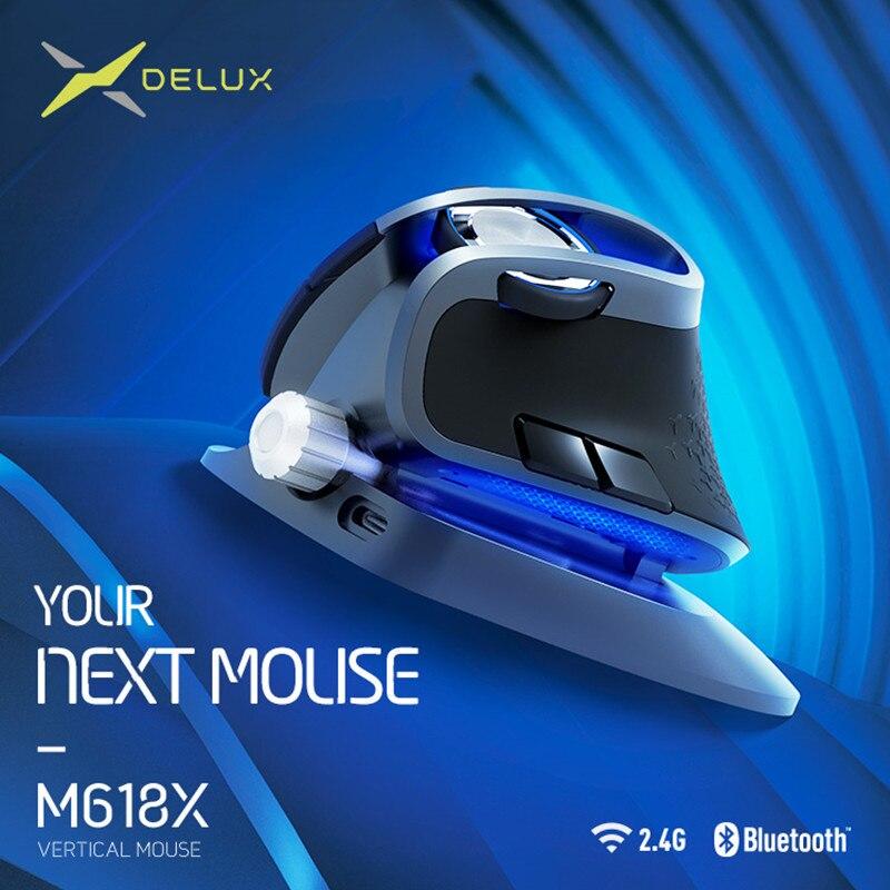 Souris verticale sans fil à angle réglable Delux M618X BT 3.0 4.0 + 2.4 GHz souris Rechargeable ergonomique pour appareils 4 fenêtres