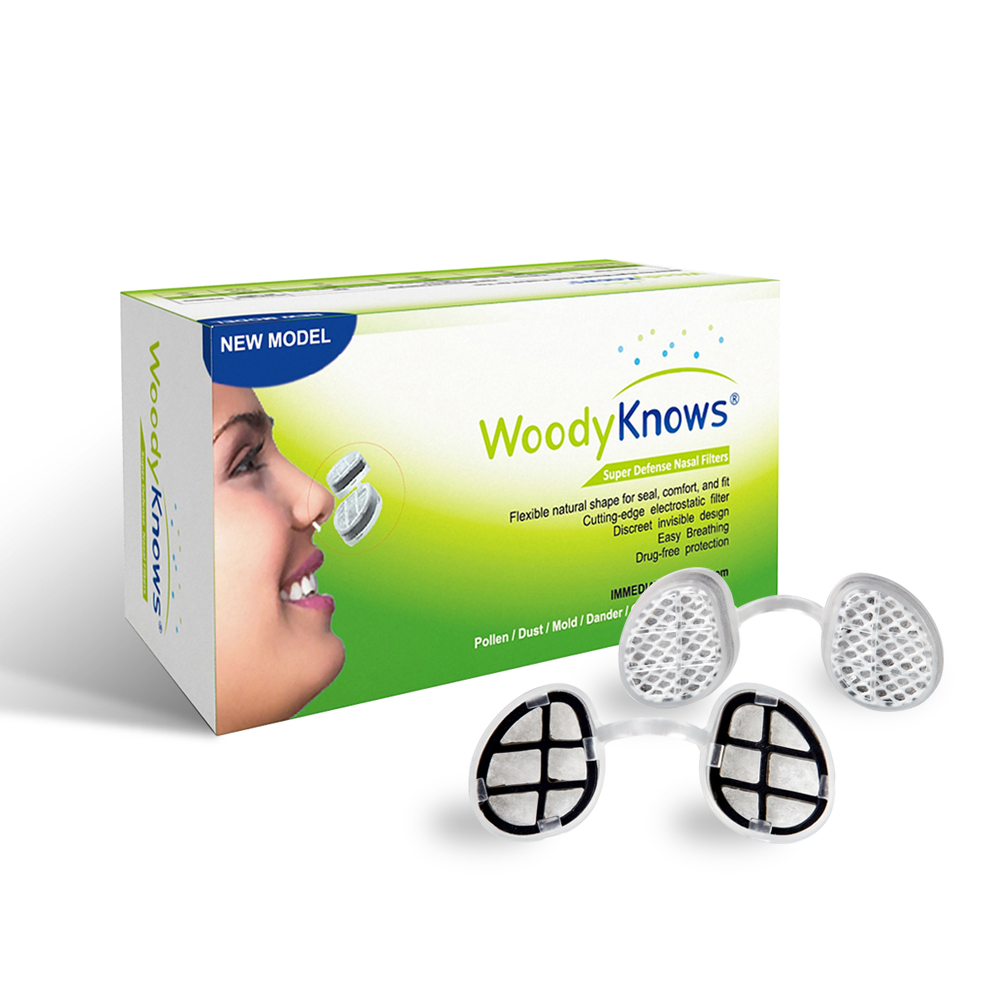 WoodyKnows Super Defense Nasal Filters (2nd Generation) Nose Masks, Pollen Allergies Dust Allergy Relief, No pm2.5 air pollution airborne pollen allergy