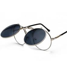 49d246bab99e6 Moda steampunk óculos de proteção rodada flip up steampunk do vintage óculos  de sol rodada mulheres marca designer steam punk m