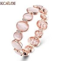 KCALOE Round Cuff Bracelets Bangles For Women Fashion Rose Gold Color Natural Opal Stone Wrap Bracelet