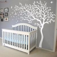 2016 Hot Huge White Tree Flowers Vinyl Wall Decal Nursery Tree and Birds Wall Art Baby Kids Bedroom Wall Sticker DIY Home Decor
