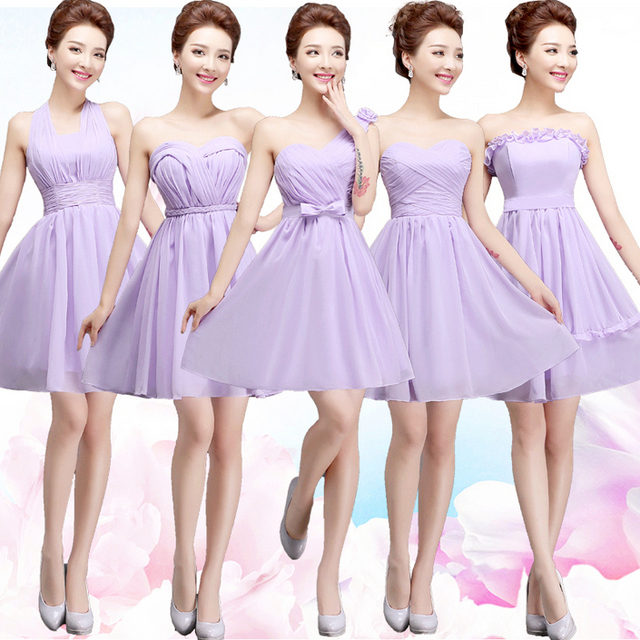Las Chiffon Knee Length Bridesmaid Special Occasion Dresses Short Lavender Dress Wedding Guest Free Shipping