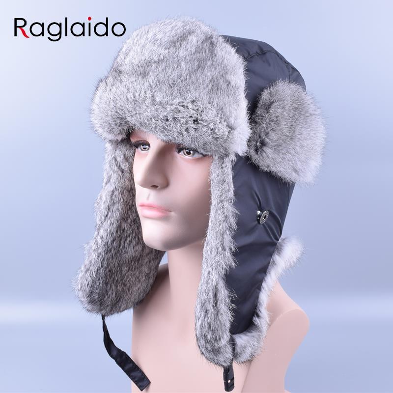 afc1c735710 Raglaido Bomber Hat Rex Rabbit Fur Trapper Hats Thick Warm Winter Snow Caps  Russian Mens Fur Hat Ear Flap Caps ushanka LQ11180-in Bomber Hats from  Apparel ...