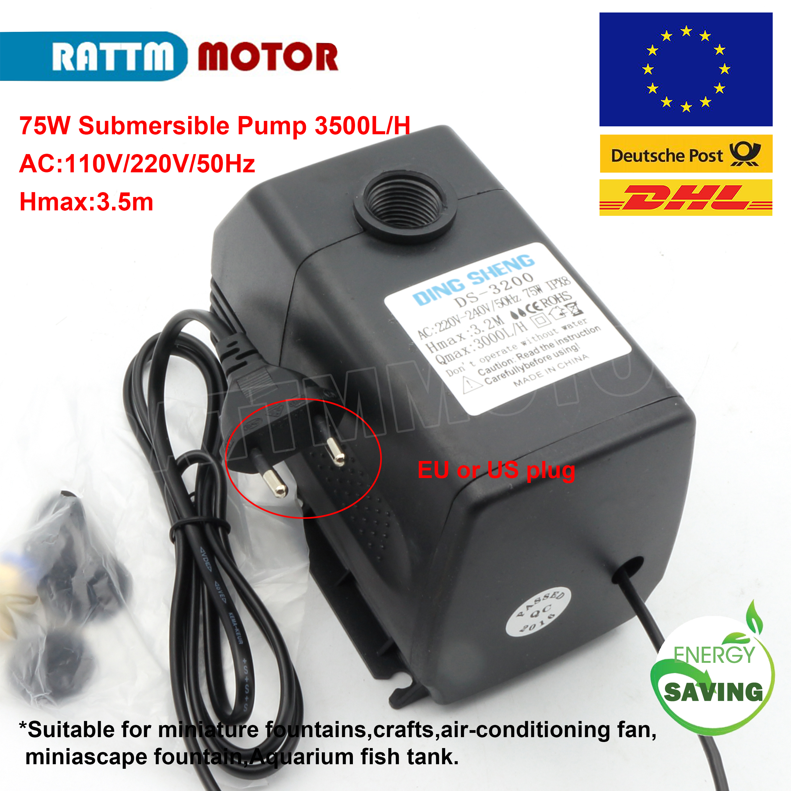 75W <font><b>110V</b></font> 220VAC <font><b>water</b></font> <font><b>pump</b></font> 3.5mHmax 3500L/H submersible <font><b>pump</b></font> DS-3500 image
