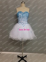 Real Sample Short Cocktail Dress A Line Ruffled Skirt Short Party Prom Dress Beaded Blue Vestido