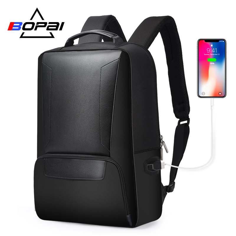 BOPAI 2018 Men Laptop Backpack 15.6 Inch Daily Work Backpack Men Black Leather Schoolbag High School back pack mochila escolar