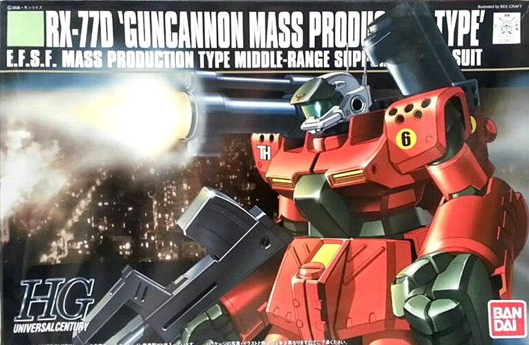 1PCS bandai HGUC 044 1/144 Gun Cannon RX-77D Gundam Mobile Suit Assembly Model Kits Anime action figure lbx toys ohs bandai mg 179 1 100 sengoku astray gundam mobile suit assembly model kits