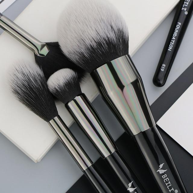 BEILI 40/35/15 pieces Luxury black professional makeup brush set Big brushes Powder foundation blending goat hair makeup brushes 5