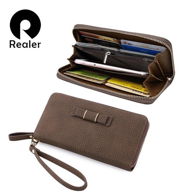 1668681687bf REALER женский кошелек, длинный кошелек с молнием,повседневный женский  клатч, дамская сумка-