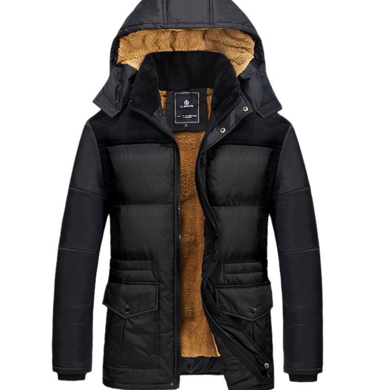 2018 New Brand Clothing Mens Casual Parkas Long Style Loose Fit Hooded Jacker Parkas For Older Fleece Winter Jacket Men Padded
