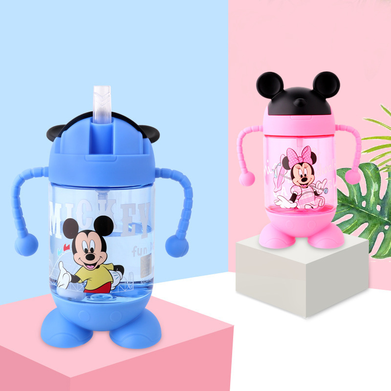 Disney Kids Cups Baby Water feeding Bottle With straw Portable Cartoon Minnie Mickey Lovely Cup My Sport Bottles 320-380ML 240ml baby drinking water bottle cups with straw portable feeding bottle cartoon water feeding cup with the handle for baby hot
