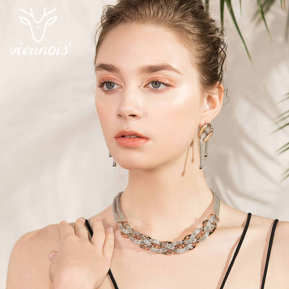 Viennois Mix Silver/ Rose gold Color Drop Earrings Twist  Link Jewelry Set for Women Female Party Jewelry Sets New