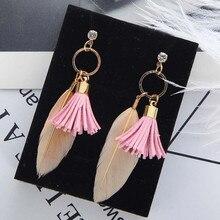 European and American feather tassel circle geometric earrings new ochre retro long womens fashion je