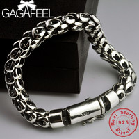 GAGAFEEL S925 Thai Silver Dragon Scale Pin Bracelet Men's Coarse Chain Handmade Vintage Fashion Personality Domineering Bracelet