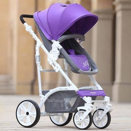 European high landscape stroller lightweight super shock stroller baby can sit or lie folded