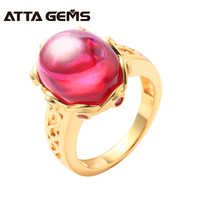 Ruby Sterling Silver Rings for Women Yellow Gold Plated 6.6 Carats Created Ruby Cabochon Cutting Women Wedding Anniversary Gifts